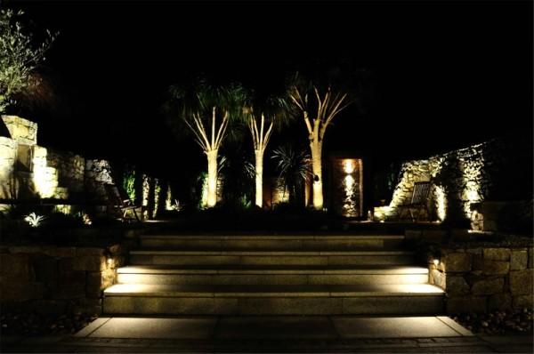 Step lighting and uplighting of bushes